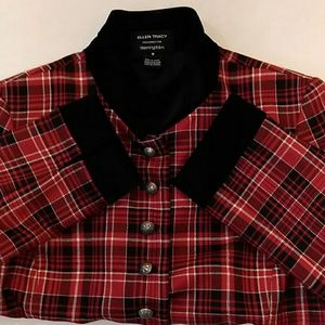 Ellen Tracy Temu5619 blazer 💯 wool plaid sz 8 bla